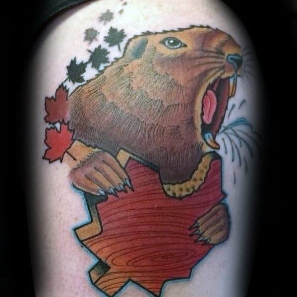 Mens Tattoo Ideas With Beaver Design