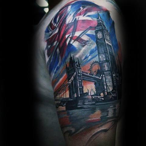 Mens Tattoo Ideas With Big Ben Design Half Sleeve