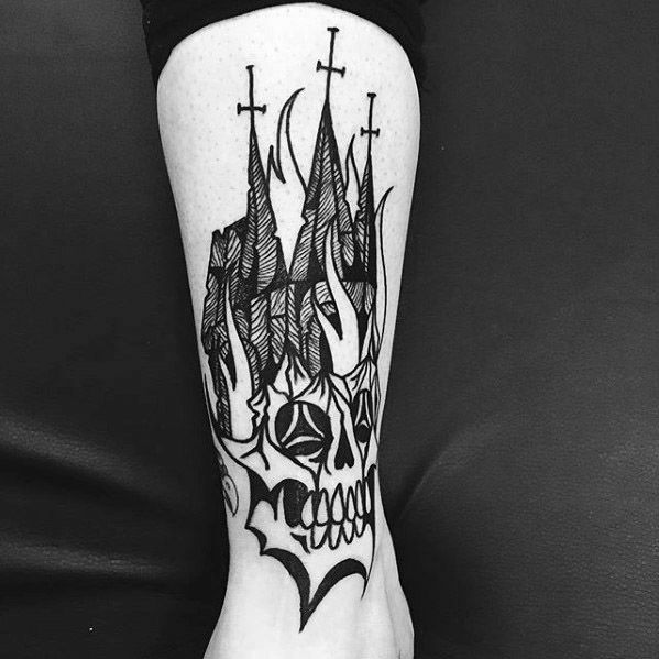Mens Tattoo Ideas With Burning Church Design
