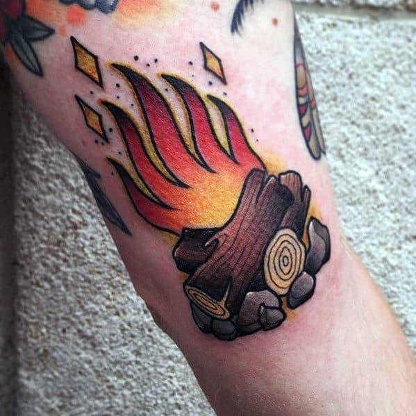 Mens Tattoo Ideas With Campfire Design