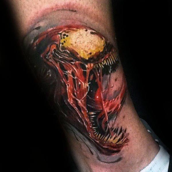Mens Tattoo Ideas With Carnage Design Lower Leg 3d
