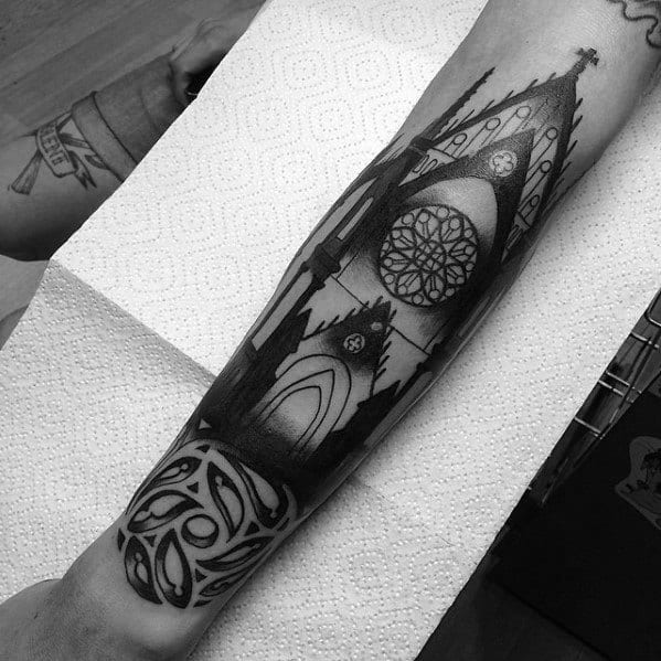 Mens Tattoo Ideas With Cathedral Design