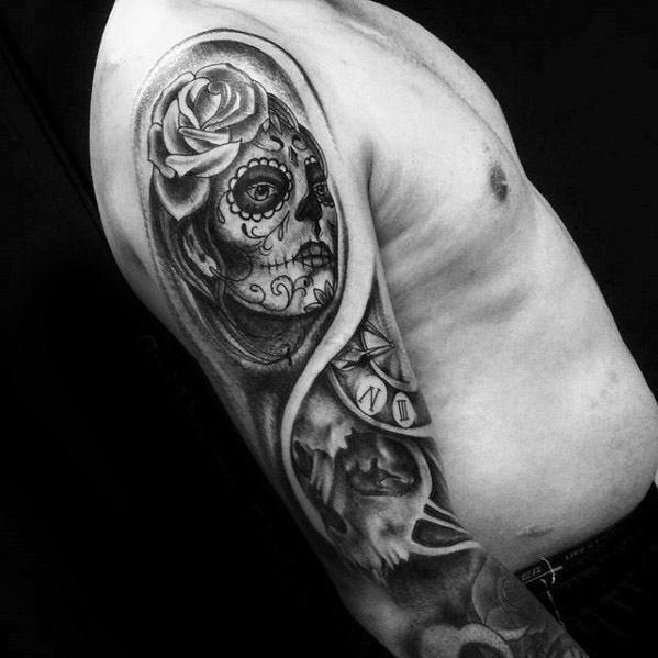 Mens Tattoo Ideas With Catrina Design