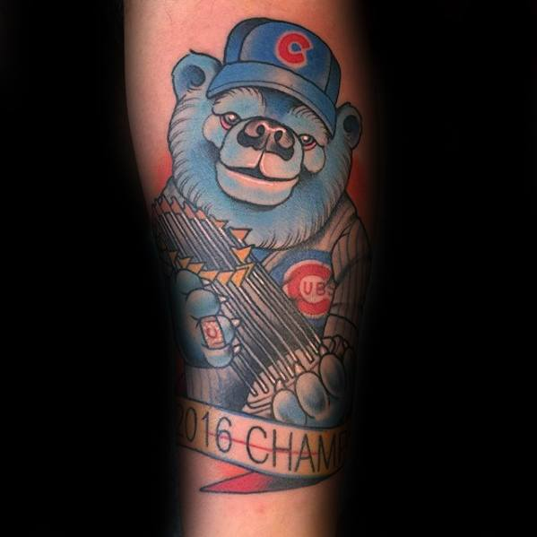 Mens Tattoo Ideas With Chicago Cubs Design On Forearm