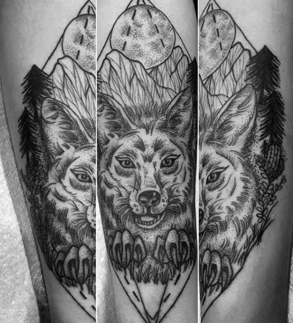 Mens Tattoo Ideas With Coyote Design