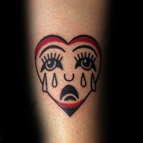 Mens Tattoo Ideas With Crying Heart Design