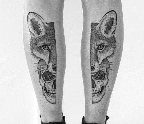 Mens Tattoo Ideas With Fox Skull Design