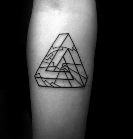 Mens Tattoo Ideas With Geometric Simple Penrose Triangle Design On Inner Forearm