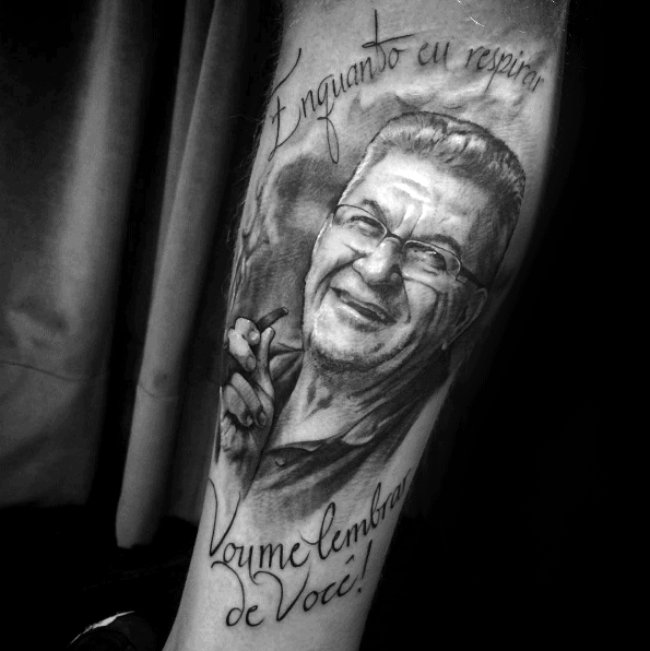 Mens Tattoo Ideas With Grandfather Portrait Design On Forearm
