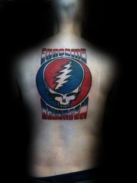 Mens Tattoo Ideas With Grateful Dead Design On Back