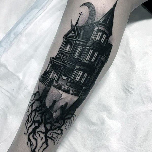 60 haunted house tattoo designs for men spooky spot ink ideas. Black Bedroom Furniture Sets. Home Design Ideas