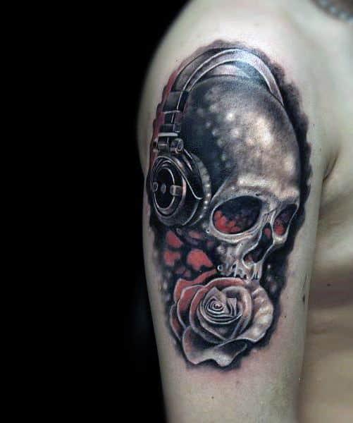 Mens Tattoo Ideas With Headphones Skull Design On Arm