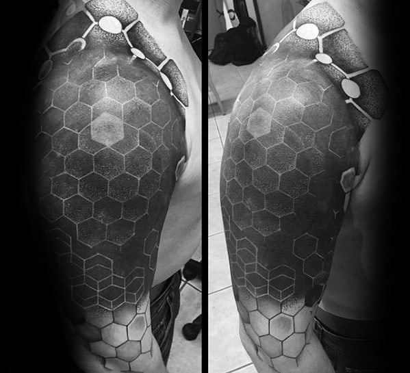 Mens Tattoo Ideas With Honeycomb Pattern Blackout Sleeve Design