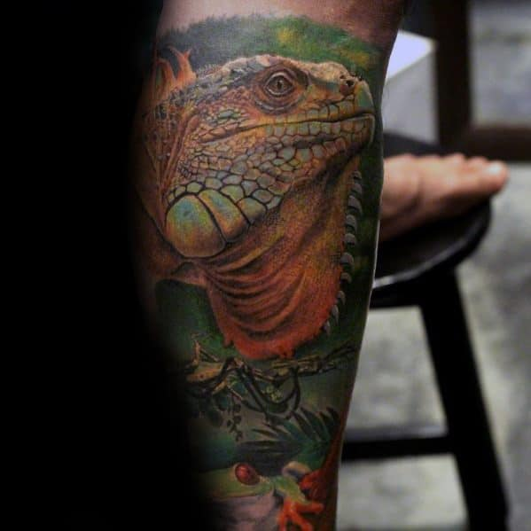 Mens Tattoo Ideas With Iguana Design
