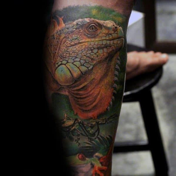 Mens Tattoo Ideas With Iguana Design