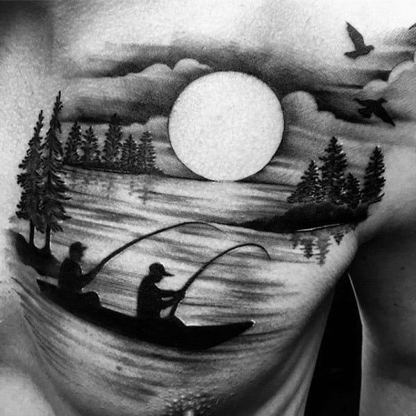 Mens Tattoo Ideas With Lake Design On Chest