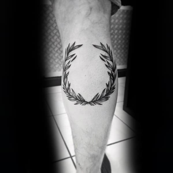 Mens Tattoo Ideas With Laurel Wreath Design Leg Calf