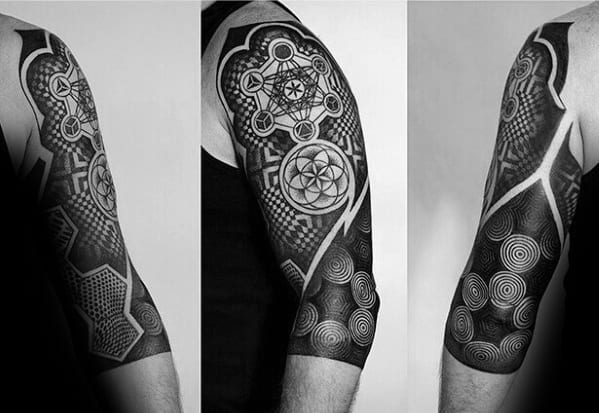 Mens Tattoo Ideas With Metatrons Cube Design