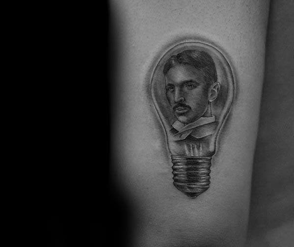 Mens Tattoo Ideas With Nikola Tesla Design