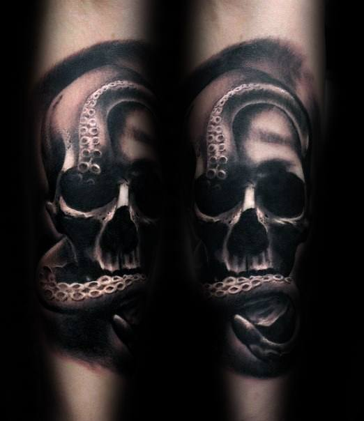 Mens Tattoo Ideas With Octopus Skull Design Forearm Sleeve
