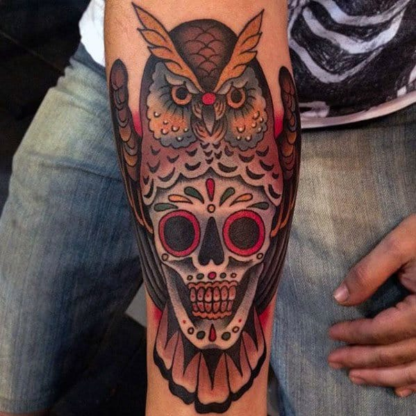 Mens Tattoo Ideas With Owl Day Of The Dead Skull Design On Inner Forearm