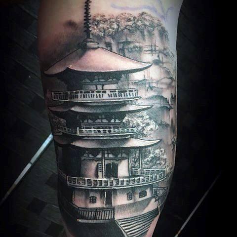 Mens Tattoo Ideas With Pagoda Design