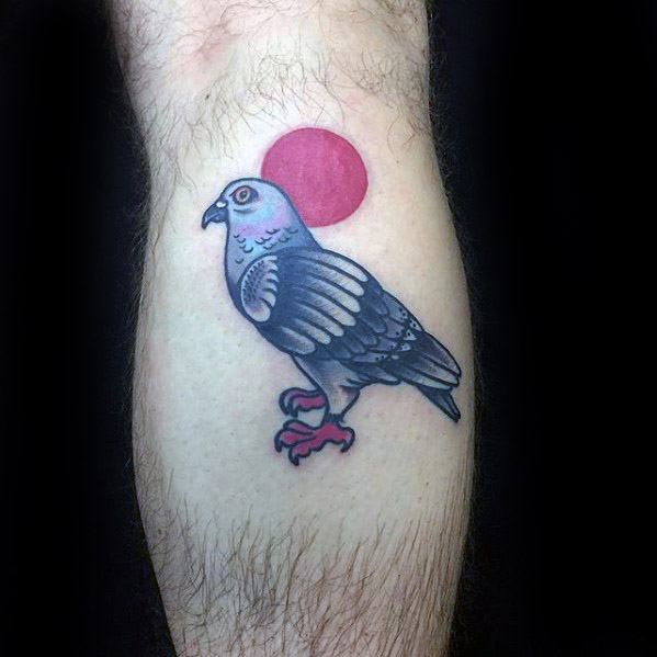 Mens Tattoo Ideas With Pigeon Design