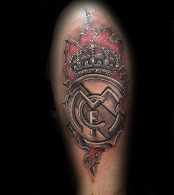 Mens Tattoo Ideas With Real Madrid Design On Arm