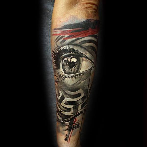 Mens Tattoo Ideas With Realistic 3d Eye And Watercolor Maze Design On Outer Forearm