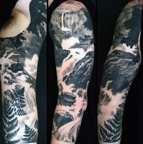 Mens Tattoo Ideas With River Design Half Sleeve