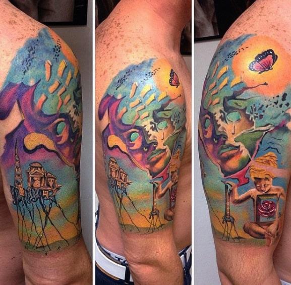 Mens Tattoo Ideas With Salvador Dali Design Half Sleeve