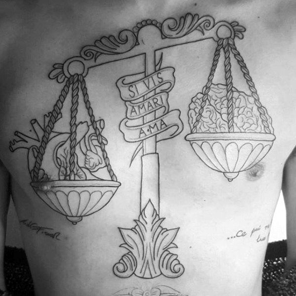 Mens Tattoo Ideas With Scale And Latin Banner Design On Chest