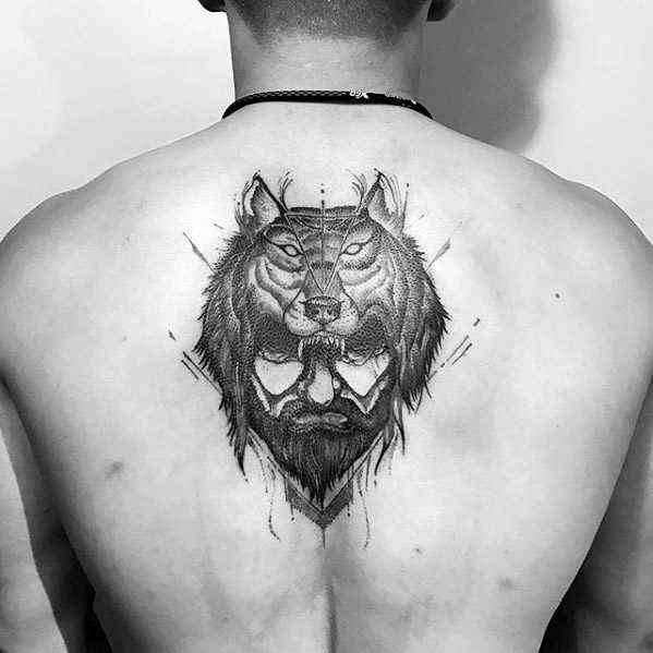 Mens Tattoo Ideas With Sick Wolf Design On Upper Back