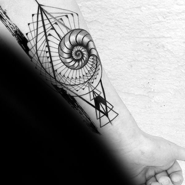 Mens Tattoo Ideas With Spiral Geometric Inner Forearm Design