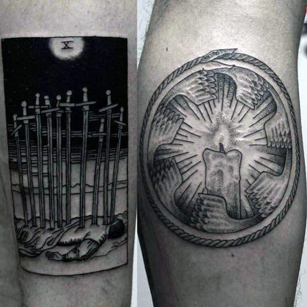 Mens Tattoo Ideas With Tarot Design On Leg Calf