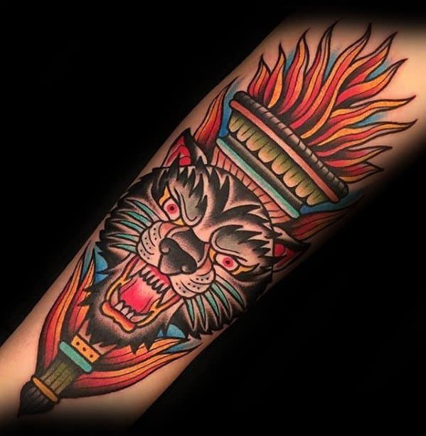 Mens Tattoo Ideas With Torch Design