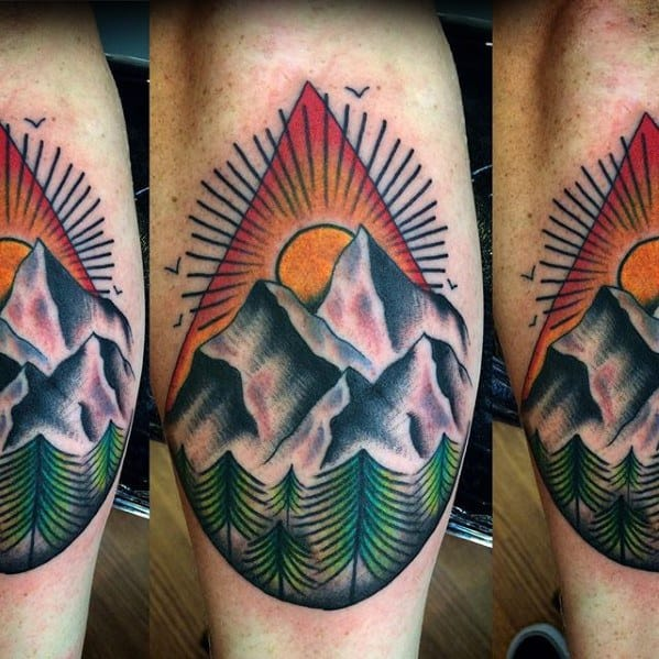 Mens Tattoo Ideas With Traditional Mountain Design