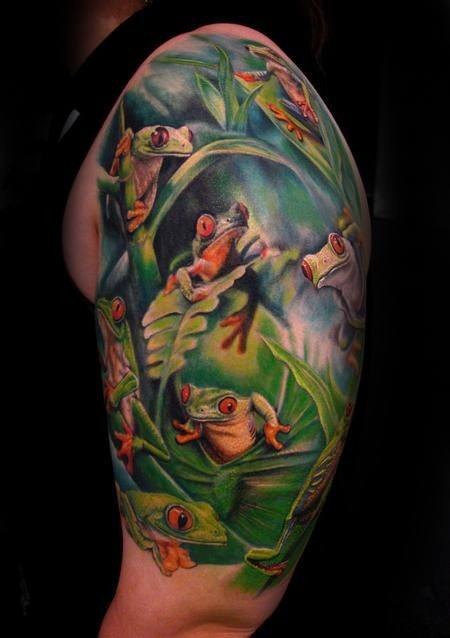 Mens Tattoo Ideas With Tree Frog Design Half Sleeve