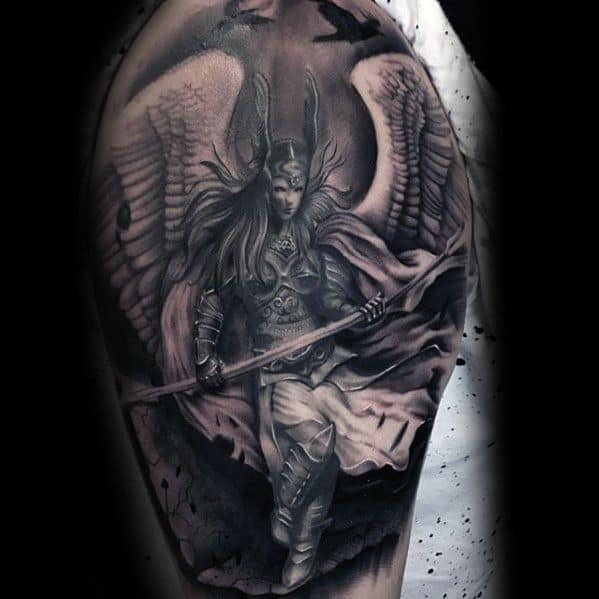 Mens Tattoo Ideas With Valkyrie Design