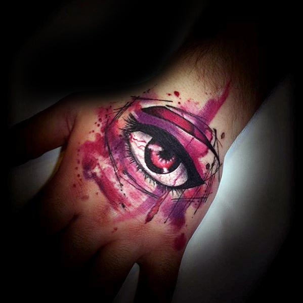 Mens Tattoo Ideas With Watercolor Eye Anime Design On Hand