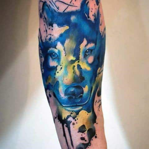 Mens Tattoo Ideas With Wolf Watercolor Design