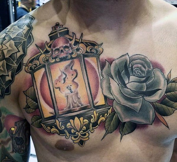 Mens Tattoo Lantern With Rose Flower Design On Chest