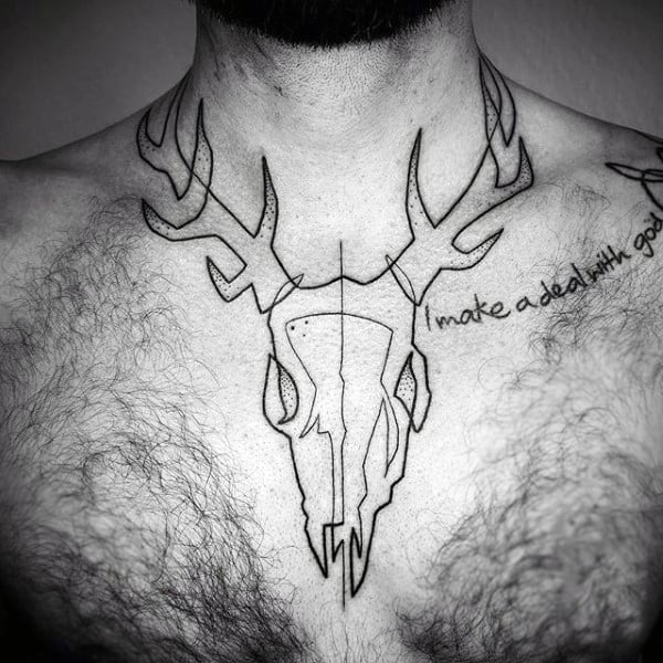 Mens Tattoo Line Art Of Deer Skull On Chest