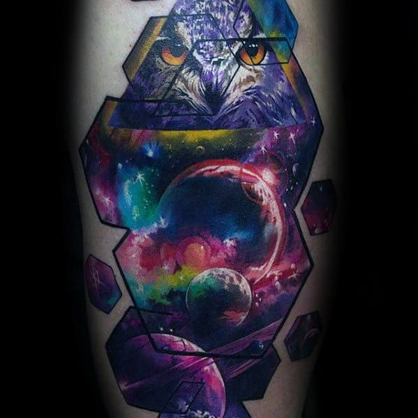 Mens Tattoo Nebula With Planets And Owl Arm Design