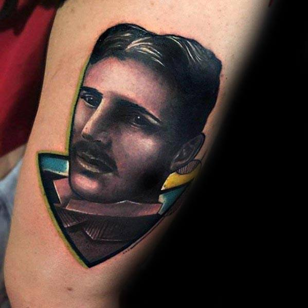 Mens Tattoo Nikola Tesla Design