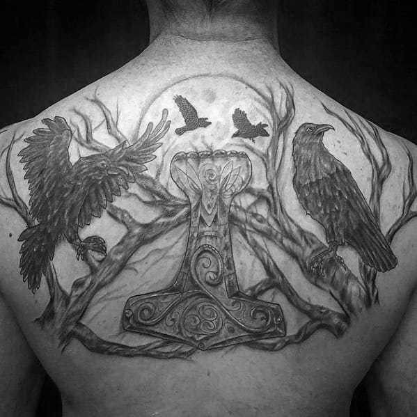 Mens Tattoo Odins Ravens Design