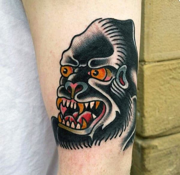 Mens Tattoo Of An Angry Gorilla