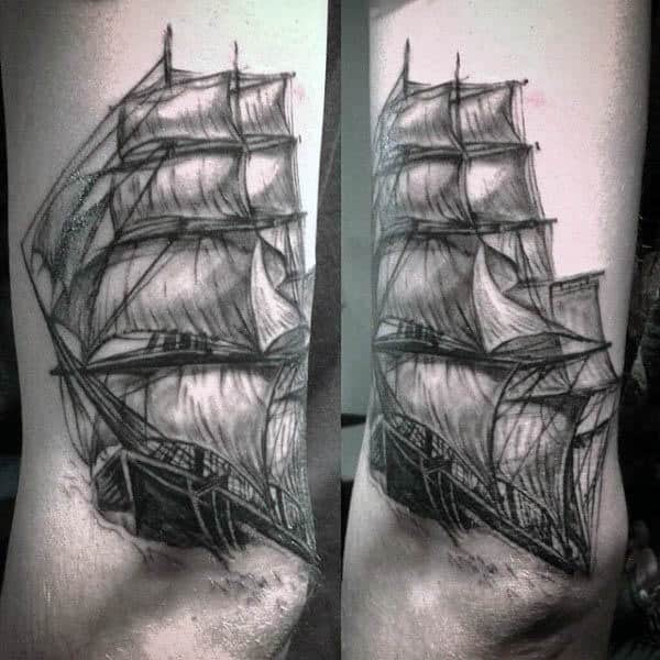 Mens Tattoo Of Black Ink Sailboat Above Elbow