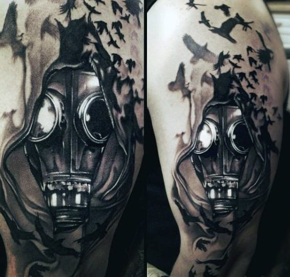Mens Tattoo Of Gas Mask With Birds Flying In Background
