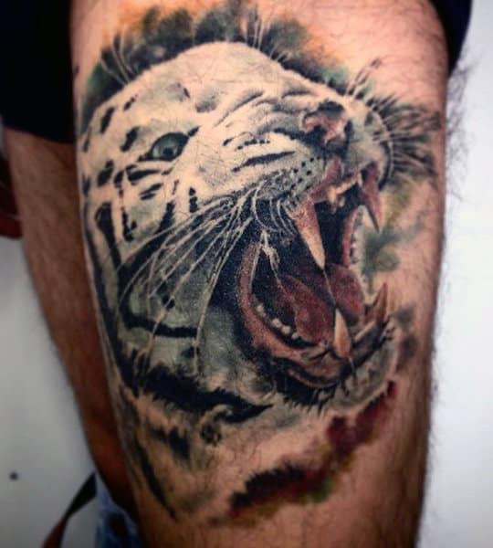 Men's Tattoo Of Tiger On Leg